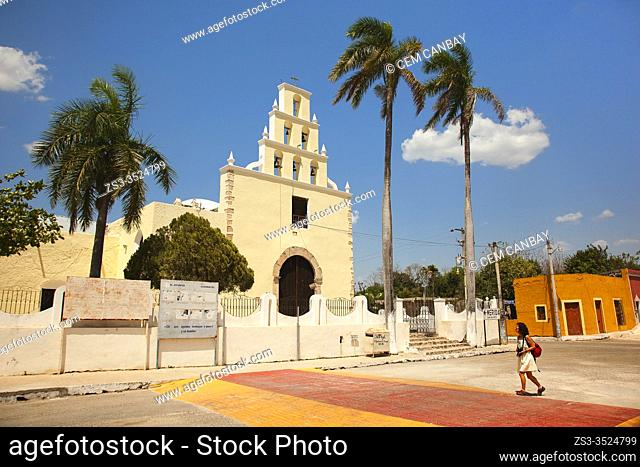 Tourist in front of the Church of the Immaculate Conception at the town center, Chumayel, Yucatan Province, Mexico, Central America