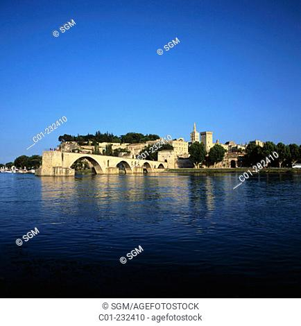 View of Avignon and Saint Benezet Bridge over the Rhone. Provence. France