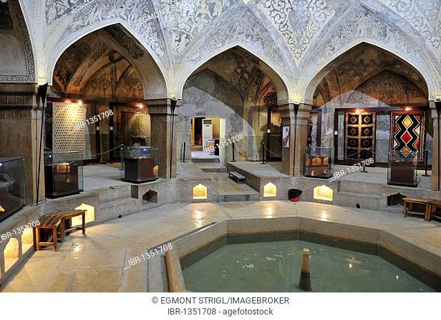 Iranian carpet display at the historic Hamman-e Vakil bath, Shiraz, Fars, Persia, Asia
