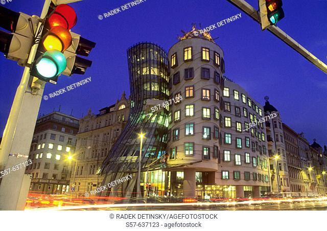 Evening shot, modern architecture, Dancing House by architects Gehry and Milunic, Prague, Czech Republic, Central Europe