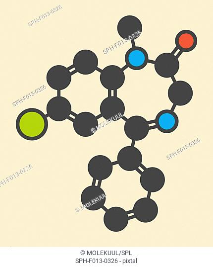 Diazepam sedative and hypnotic drug (benzodiazepine class) molecule. Stylized skeletal formula (chemical structure). Atoms are shown as color-coded circles:...