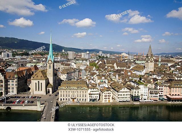europe, switzerland, zurich and limmat river