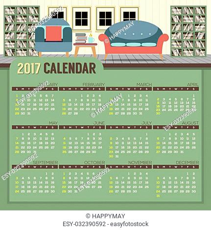 Flat Design Reading Room 2017 Printable Calendar Starts Sunday Vector Illustration
