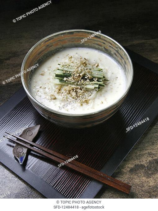 Kongguksu (seasonal Korean noodle dish served in a cold soy milk broth)