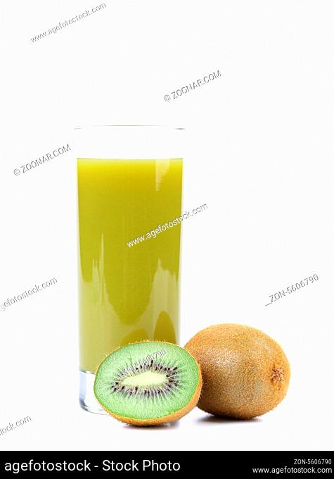 Natural kiwi juice in glass. A white background
