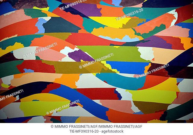 The snakes inspired jewerly, design and art organized by Bulgari, artwork by Piero Dorazio, Snake, 1968, Palazzo Braschi, Rome, ITALY-09-03-2016