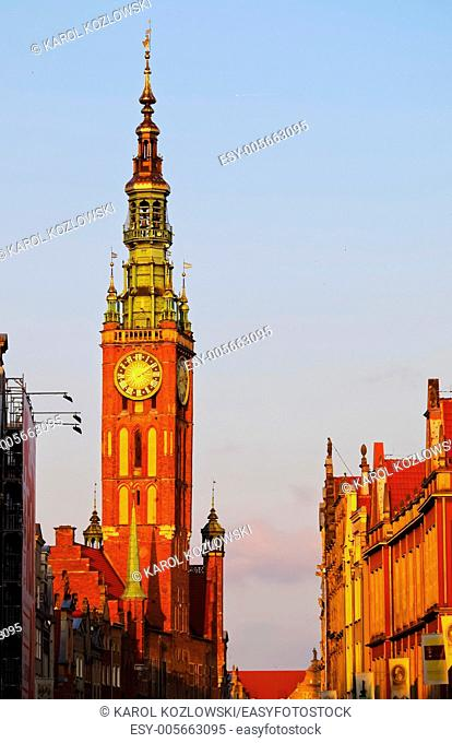 City Hall of the main city of Gdansk, located on Dlugi Targ - Long Market Street, Poland