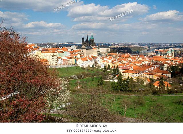 Czech Republic, Praha, Prague castle from Strahov garden