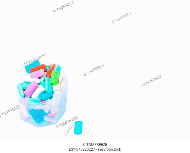 Box of chewing gum isolated on white