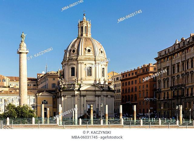 Dome of Santissima Nome di Maria al Foro Traiano and Trajan's Column, Trajans Forum