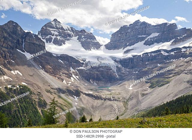 Canada, Mount Assiniboine Provincial Park, View from Cirque of Towers and Terrapin, Mts. Gloria and Eon