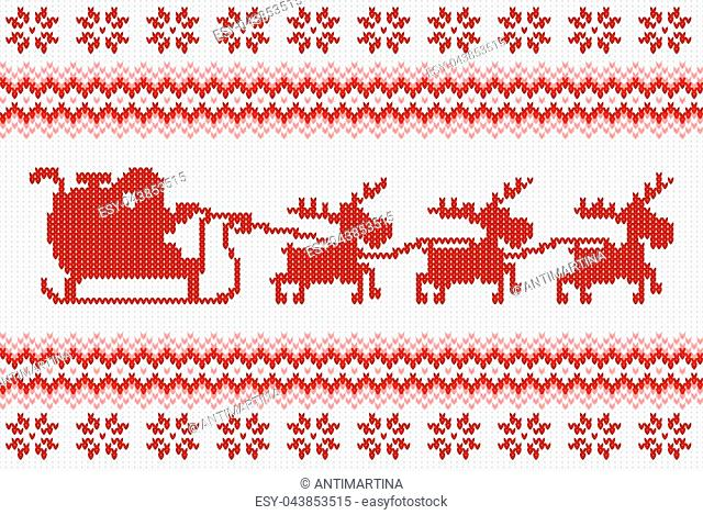 vector illustration of a seamless red and white knitted background