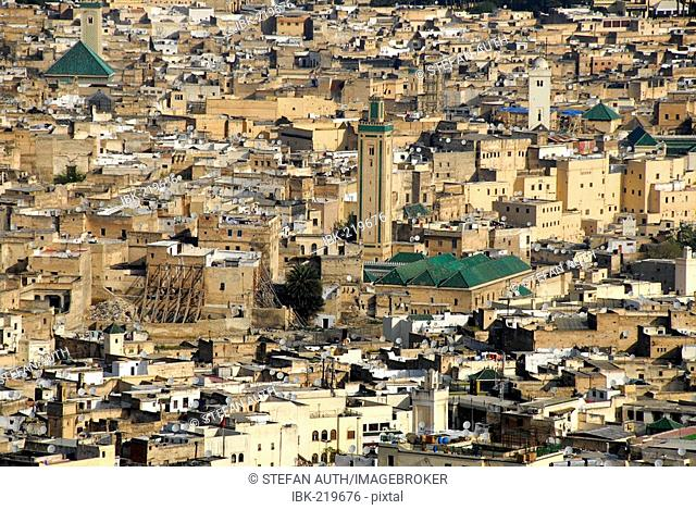View of countless houses of the old town with Kairaouine mosque and minaret Fes Morocco