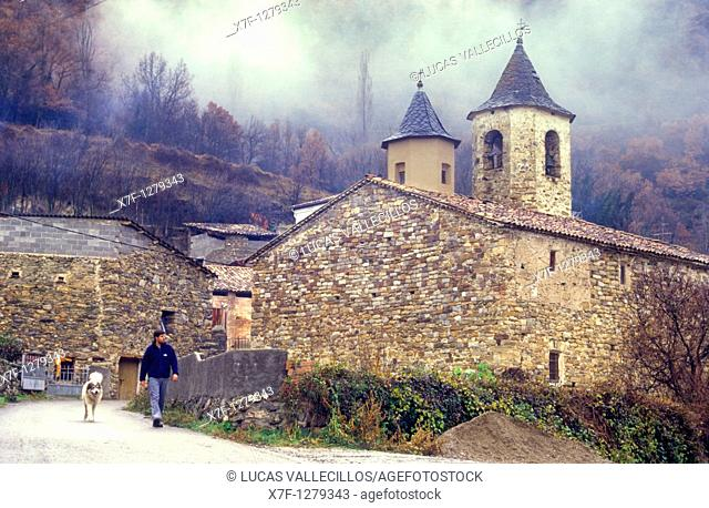 Sant Marti church Romanesque church Llesp Boí valley Lleida province  Catalonia  Spain