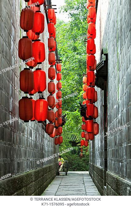 Chinese street decor on Jinli Street in Chengdu, Sechuan, China