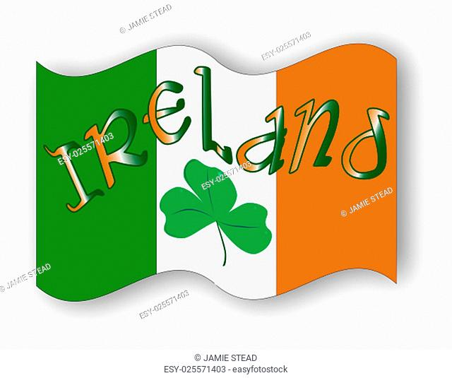 The Republic of Ireland flag with the text IRELAND and a lucky shamrock, a symbol of the Irish people