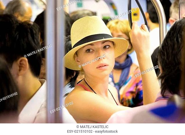 Tourist traveling by public transport