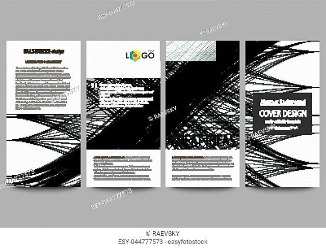 Flyers set, modern banners. Business templates. Cover template, easy editable, flat style layouts, vector illustration. Abstract waves, lines and curves