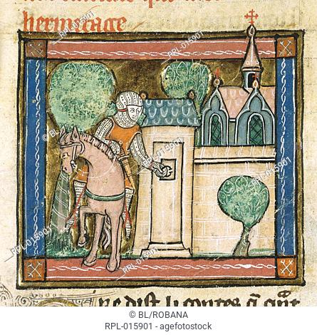 Sir Perceval arrives at a Hermitage and knocks on the door. Image taken from La Queste del Saint Graal. Originally published/produced in France Picardy