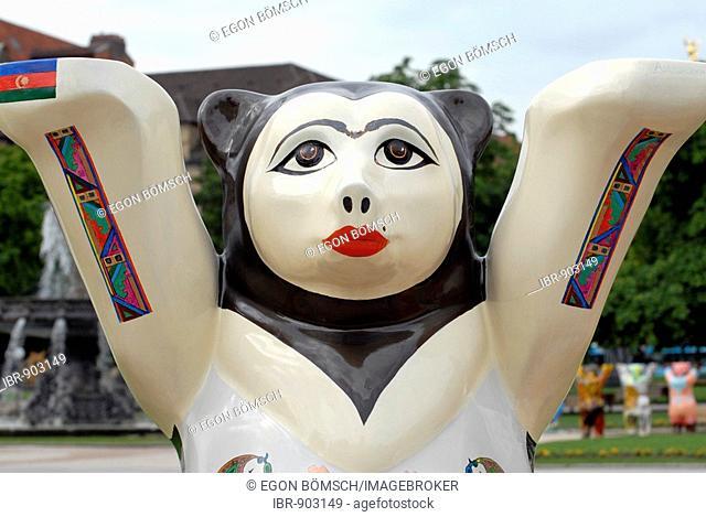 Bear from Azerbaijan, United Buddy Bears, bear parade, Schlossplatz, Stuttgart, Baden-Wuerttemberg, Germany, Europe