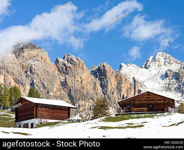 Geisler mountain range (Geislergruppe, Odle) in the dolomites of the Groeden Valley or Val Gardena in South Tyrol - Alto Adige
