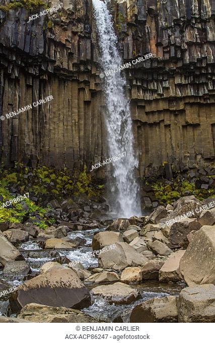 Svartifoss waterfall and dark lava columns, in Skaftafell in VatnajÜkull National Park in south Iceland