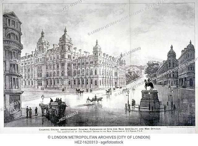 View of an improvement scheme for the area around Charing Cross, Westminster, London, c1860