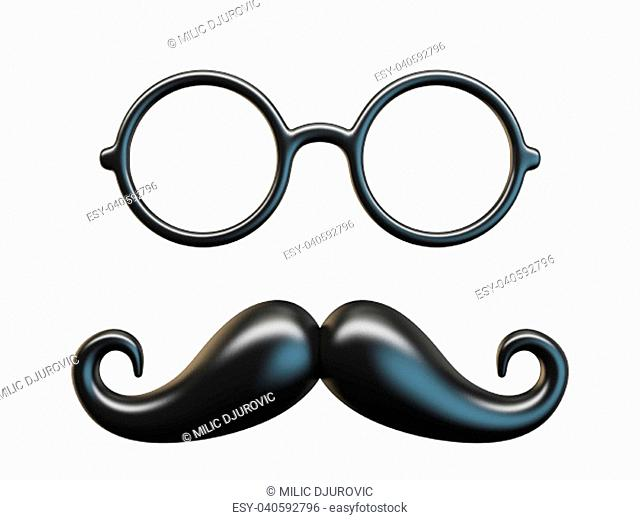 Black mustache and circular glasses 3D rendering illustration isolated on white background