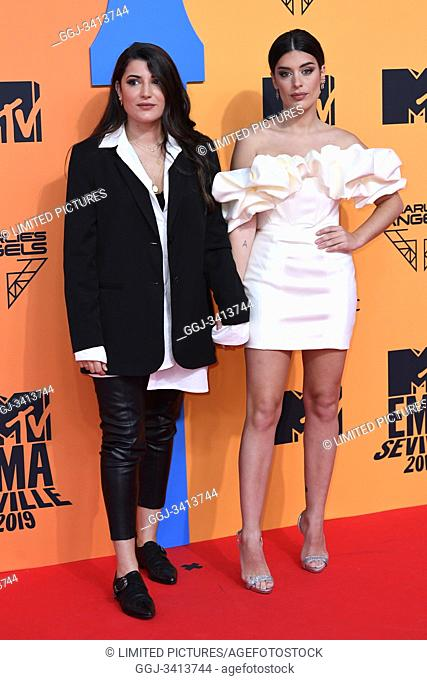 Aida Domenech, Alba Paul Ferrer attends 2019 MTV Europe Music Awards (EMAs) at FIBES Conference and Exhibition Centre on November 3, 2019 in Sevilla, Spain
