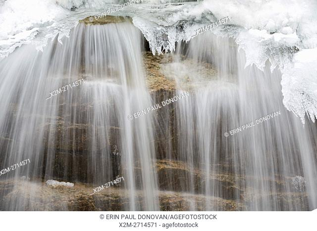 Cascade along the Swift River in Livermore, New Hampshire USA during the winter months