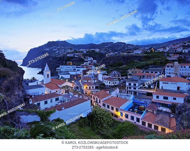 Portugal, Madeira, Twilight view of the Camara de Lobos