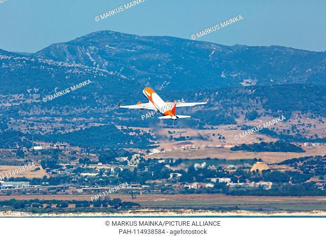 Gibraltar - July 29, 2018: Easyjet Airbus A320 airplane at Gibraltar airport (GIB). | usage worldwide. - Gibraltar/