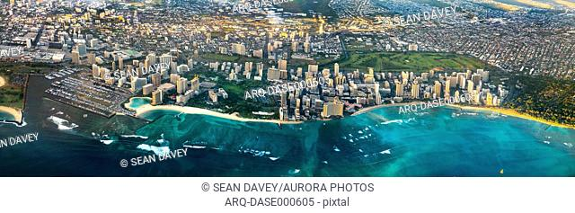A view of Waikiki in Honolulu, from high up in a passenger plane