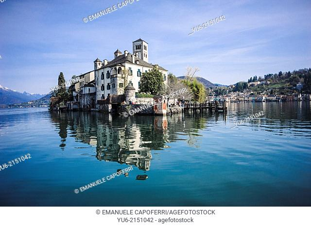 San Giulio Island by ferry, village of Orta, Lake Orta, Piedmont, Italy