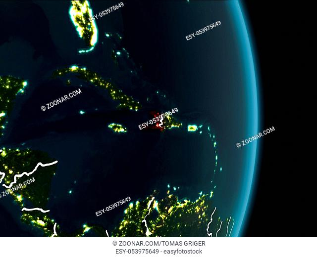 Map of Haiti in red as seen from space on planet Earth at night with white borderlines and city lights. 3D illustration. Elements of this image furnished by...