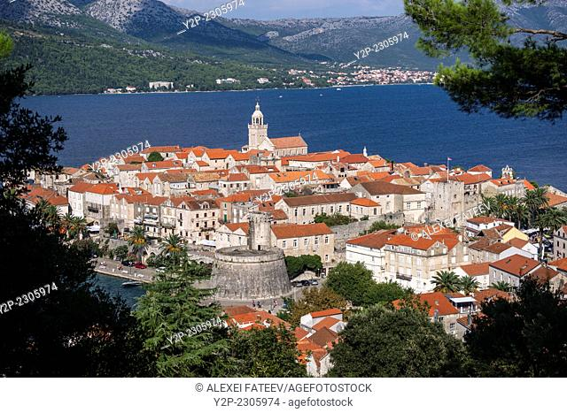 Panoramic view of Korcula town in Croatia