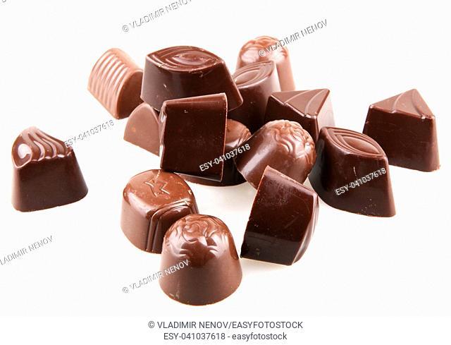 Sweet chocolates isolated on white background