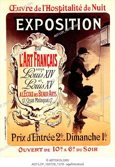 Poster for 'l'oeuvre de l'Hospitalité de Nuit'. Exhibition of French Art under the Reign of Louis XIV and XV' at the Ecole des Beaux-Arts, Paris, Chéret
