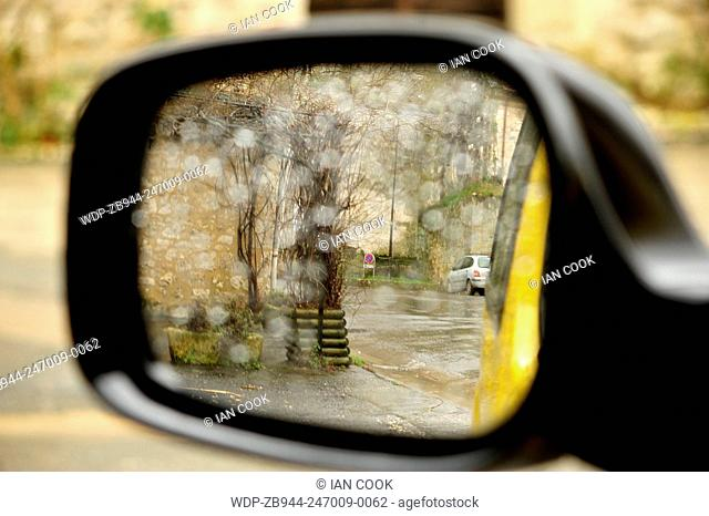 side-view mirror with rain droplets, Issigeac, Dordogne Department, Aquitaine, France
