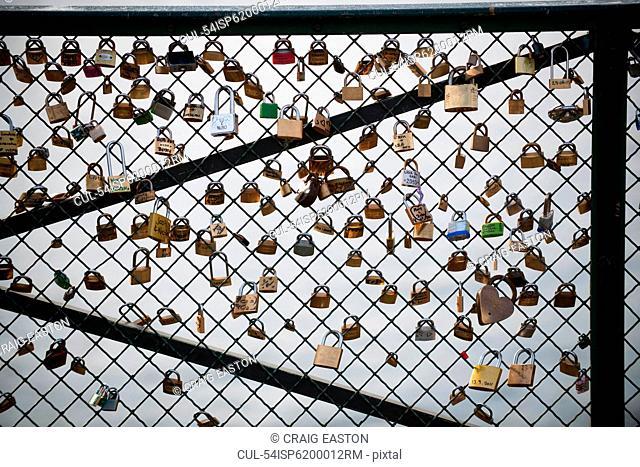 Padlocks on bridge, Paris, France