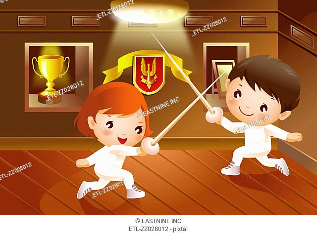 Boy and a girl fighting with swords