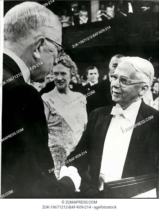 Dec. 12, 1967 - Nobel prize award in Stockholm.: AT a ceremony in the Concert Hall,Stockholm on Sunday (Dec 10), King Gustav Adolf of Sweden presented this...