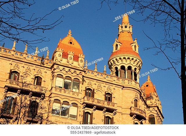 Catalana Occidente insurance company building in Passeig de Gracia. Barcelona, Catalonia, Spain