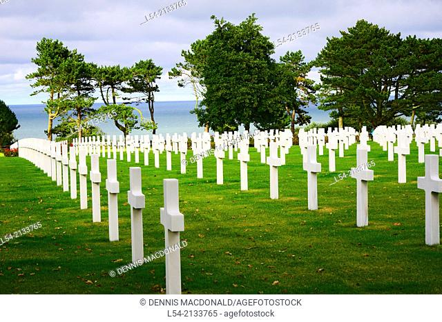 Cross Grave Markers Normandy American Cemetery France Colleville Sur Mer FR Europe WWII