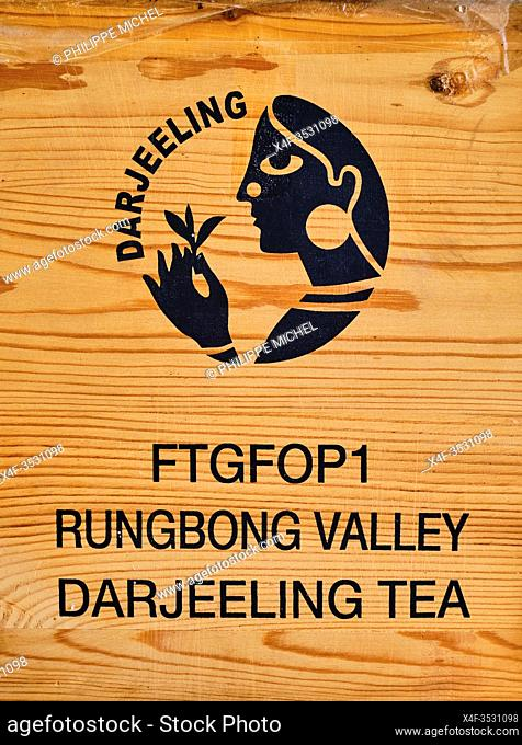 India, West Bengal, Darjeeling, Darjeeling tea box