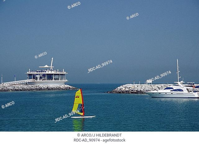 Surfer in harbour of Jumeira Beach Hotel Jumeira Beach Road Dubai United Arab Emirates