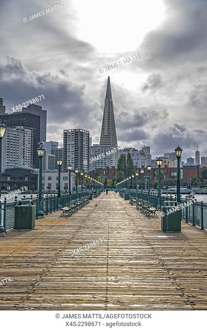 The San Francisco skyline as seen from a dock on the bay