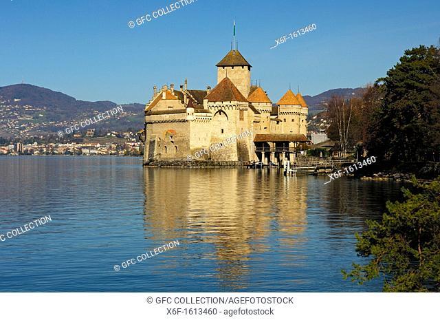 Château de Chillon, Chillon Castle at Lac Leman near Montreux  Vaud, Switzerland