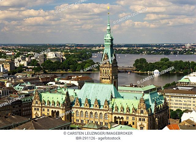 View over Hamburg City Hall to lake Alster, Hamburg, Germany