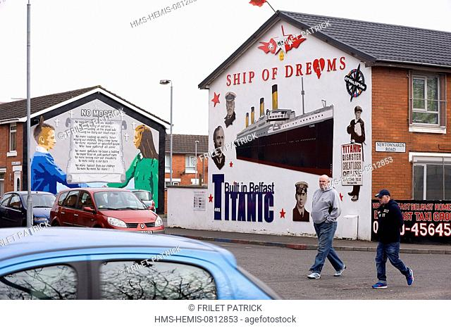 United Kingdom, Northern Ireland, Belfast, a Titanic mural in the loyalist East Belfast area